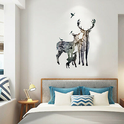 Deer Art Wall Stickers Removable Vinyl Mural Decal Home Room Office Decor DIY