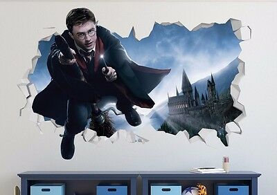 Harry Potter Flying 3D Wall Decal Sticker Vinyl Decor Smashed Mural Movie LS48