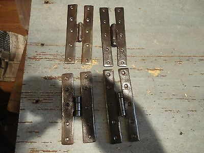 "2 pairs of antique wrought iron 5"" H hinges"