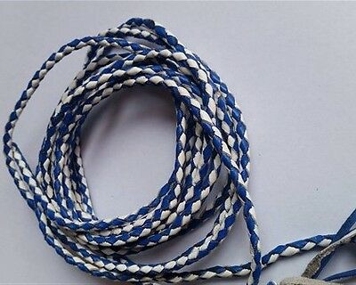 New Genuine Leather 2 Color Braided Bolo Cord For Vest Blue & White  (Set Of 2)