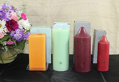 Partylite Lot 4 Pillar Candles Square Bell Top Honeydew Cranberry Various Sizes