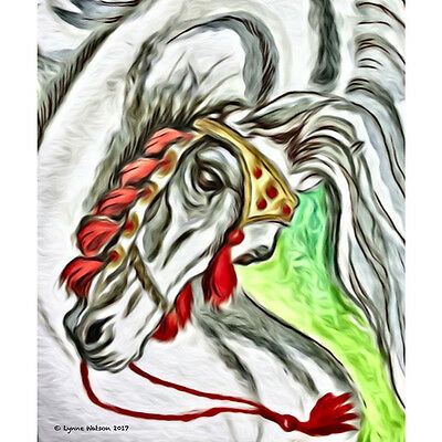 "POLAR FLEECE BLANKET.. ARABIAN HORSE. GREY. 50"" x 60"" Orig. Art."