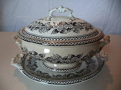 Antique 19th Century Black Transferware Floral Small Covered Tureen Serving Dish