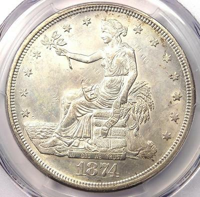 1874-CC Trade Silver Dollar T$1 Coin - Certified PCGS MS62 Chop Mark (MS BU UNC)