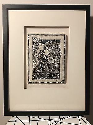 Framed Marsha McCarthy ONE HEART Drawings On Clay Tile Art, Hand Signed & Number