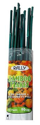 Bamboo Stakes Green Tree Plant Seedling Support Ties 60cm 6/8mm 15pk