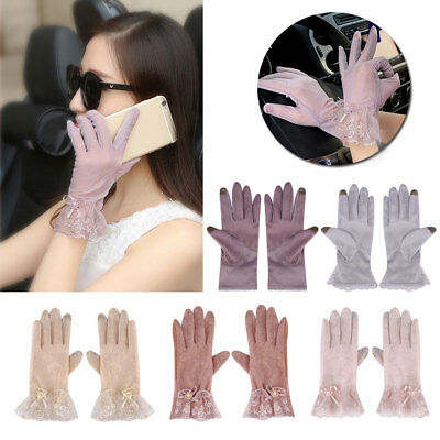 Women Touch Screen Sun Block Outdoor Lady Gloves Ice Silk Lace Female Fashion*