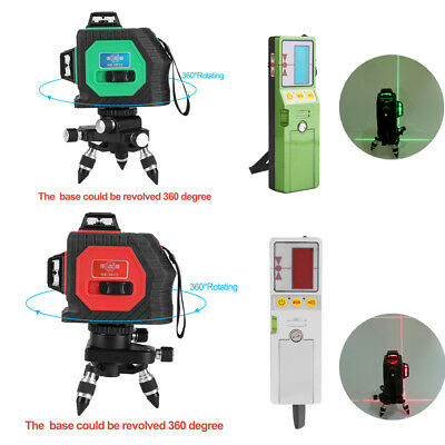 HOT!!! Outdoor 12 Line 3D Laser Level Detector Receiver Red Green Line Vertical