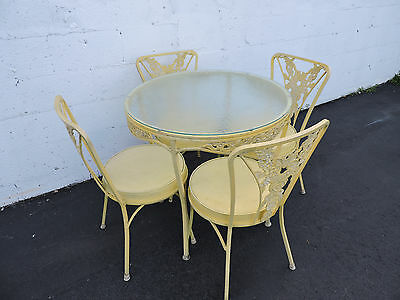 Round Vintage Aluminum and Glass-Top Dining Table with 4 Chairs 7019