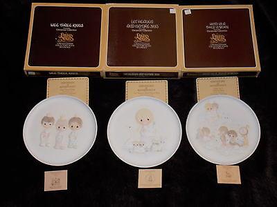PRECIOUS MOMENTS CHRISTMAS PLATES~We Three Kings~A Child is Born~Let Heaven Sing