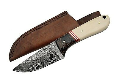 """New 7"""" Custom Made Damascus Hunting Knife with Micarta and Bone Handle W/Case"""
