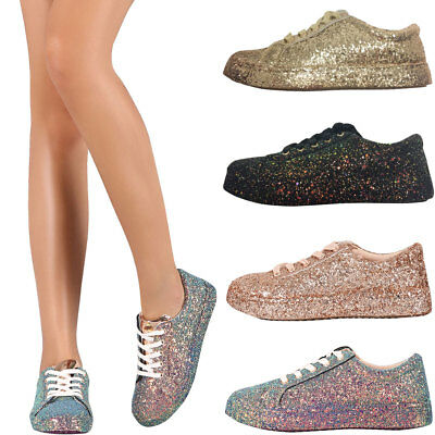 New Women Iridescent Glitter Lace Up Gym Fitness Trainer Fashion Sneaker Booties