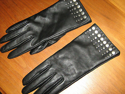 Pair Woman's Black Leather lined GLOVES Medium w Silver Beading