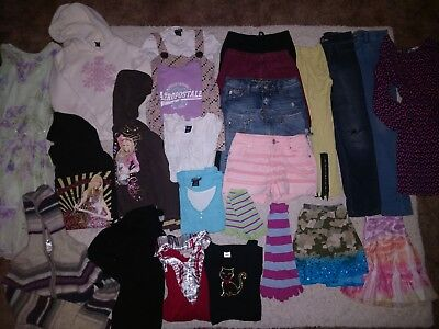 TRENDY 26 Piece Girl's Size 10/12 14 Lot Jeggings~Skorts~JUSTICE~Skirts~DRESSES