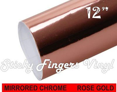 "Rose Gold MIRRORED Chrome ADHESIVE Outdoor Vinyl 12"" x 48"" Crafts DECALS"