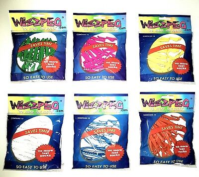 NEVER LOSE SOCKS AGAIN with Wizzpegs. 3 pks x 10 pegs per packet. FREE POSTAGE