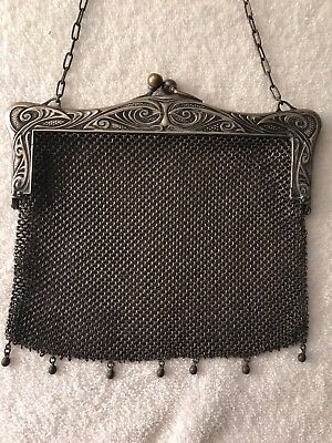 Victorian - Heavy German Silver Mesh Purse w Large Frame