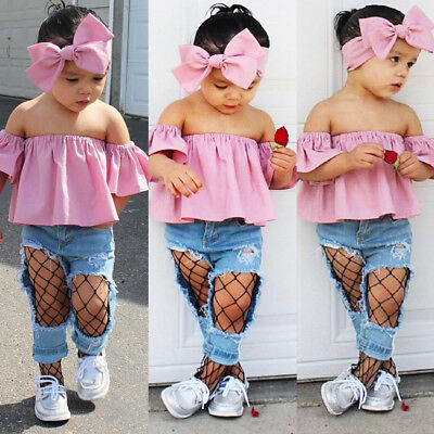 Baby Kids Girls Off Shoulder Flounce Tops Ripped Jeans Denim Outfits 3pcs/Set