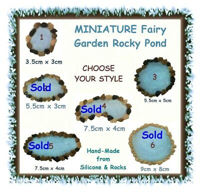MINIATURE fairy garden rocky pond - CHOOSE YOUR STYLE - lake terrarium duck