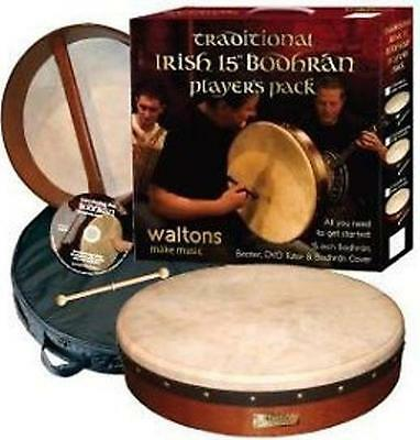"Bodhran - Waltons - 15"". Plain Head. Complete With Dvd And Protective Carry Bag"