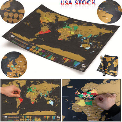 NUOLUX Deluxe Travel Edition Scrape Off World Map Poster Personalize Journal Log