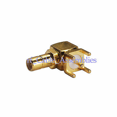 100 PCS SMB male PCB connector plug right angle goldplated RF Coaxial connector