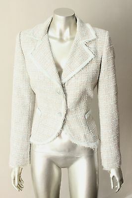Naf Naf Tweed Fringe 2 Button Contoured Blazer Career Wear to Work Jacket Sz M