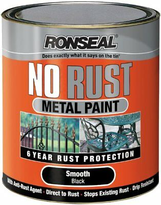 Ronseal No Rust Metal Paint Smooth Black 2.5 Litre