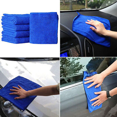 5Pcs Blue Soft Absorbent Wash Cloth Car Auto Care Microfiber Cleaning Towels RF