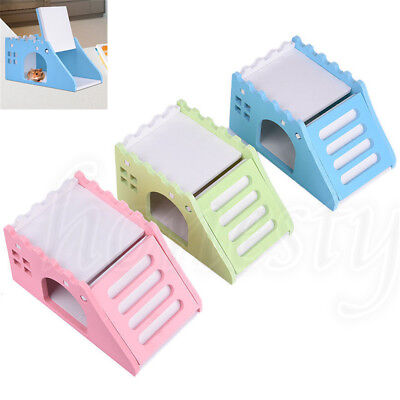 1pc Pet Hamster Mouse Flat House Cage Bed With Ladder Playground Exercise Toys