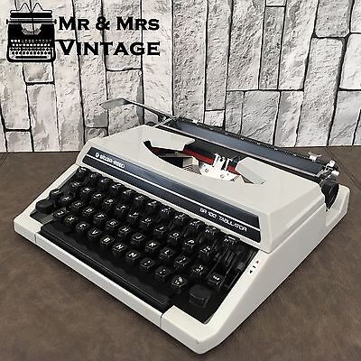 Vintage Silver Reed SR100 grey typewriter  Working Black Red ribbon portable
