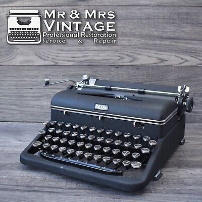 Vintage Royal Quiet Deluxe Typewriter Matte Working Portable Black Red Ribbon