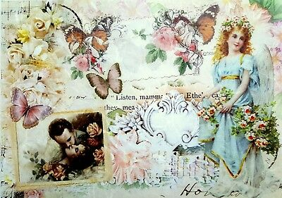 Rice Paper for Decoupage - Love, Love   Scrapbooking - Sheet Craft Vintage