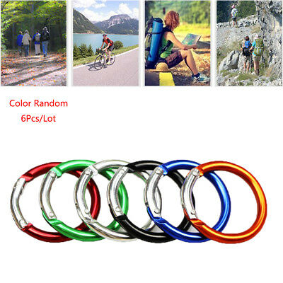 6pcs Outdoor Circle Round Carabiner Camping Spring Snap Clip Hook Buckle aa