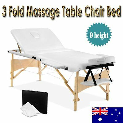 Wooden Portable Massage Table 3 Fold Beauty Therapy Bed Chair Waxing WHITE 70 cm