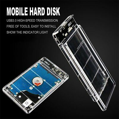"Transparent USB 3.0 to Sata 3.0 HDD Case 2.5"" Hard Drive Enclosure Speed 5Gbps P"