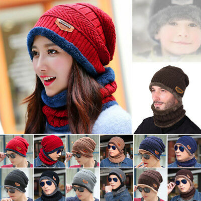 Men Women Kid Beanie Hat Scarf Set Fleece Lining Knit Hat Warm Thick Winter Ski