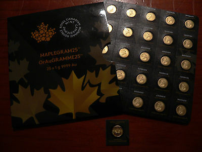 Royal Canadian Mint 2015 1gm .9999 Pure Gold Maplegramme FREEPOST with TRACKING