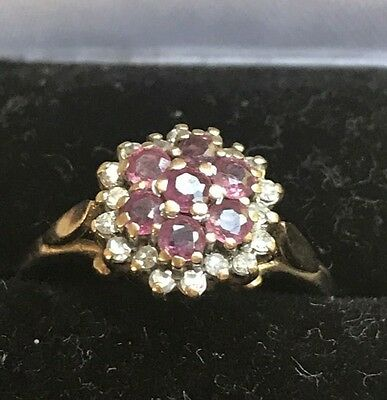 Natural Ruby & Natural Diamond Ring. 9ct yellow gold. SIZE M1/2. Hallmarked