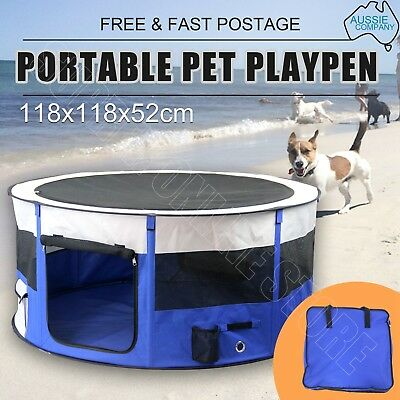 Portable Soft Pet Playpen Dog Cat Puppy Play Round Crate Cage Tent W/ Carry Bag