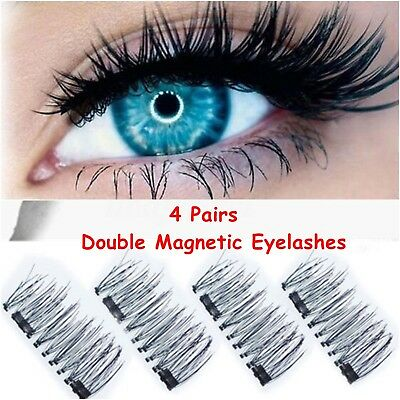 4Pairs Double Magnetic Eyelashes Handmade Reusable False Eye Lashes Extension UK