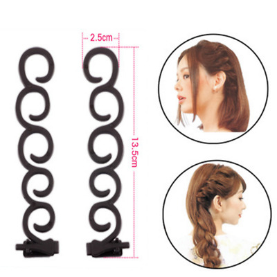 2PCS Women Braid Plaiting Twist Hair Styling Tool Braider Roller Hook Bun Maker