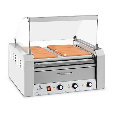 Hot Dog Grill - Edelstahl Rollengrill Würstchengrill 11 Rollen 2600 W 2 Zonen
