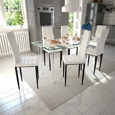# 6 PCS White Faux Leather Dining Chairs Kitchen Dining Room Slim Line High Back