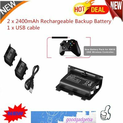 2PCS 2400mAh Rechargeable Backup Battery USB Cable For XBOX ONE Controller JK