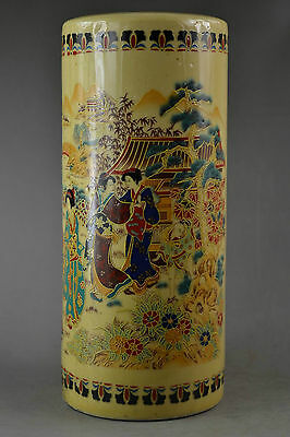 9.05Inch China Rare Old Porcelain Drawing Dowager Visit The Scenery Big Vase