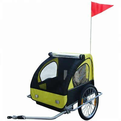 #Kids Bike Trailer Child Bicycle Pram Stroller Children Jogger Foldable Yellow