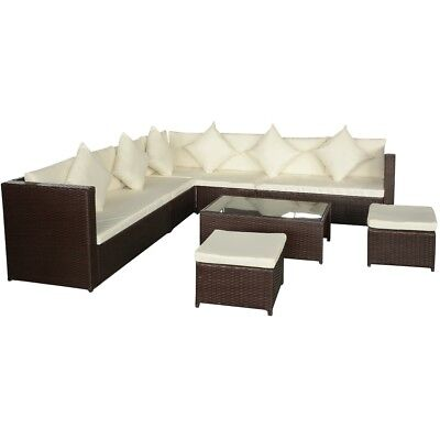 vidaXL Brown Wicker Rattan Garden Sofa Lounger Couch Table ...