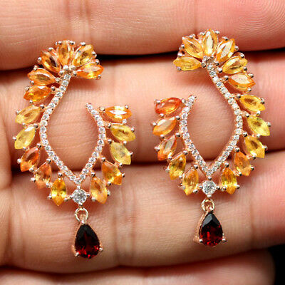 Natural! Red Garnet, Orange&yellow Sapphire & Cz Sterling 925 Silver Earrings