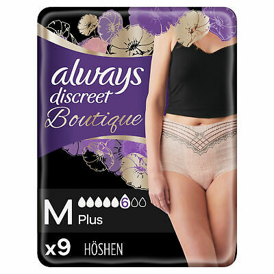 Always Discreet Boutique Pants Plus Underwear Medium Sensitive Bladder Pack of 9